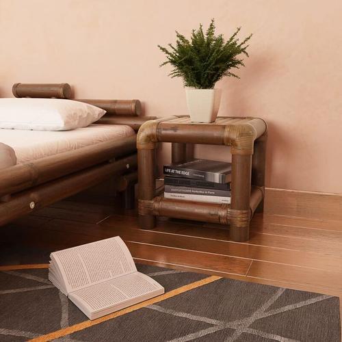 YOUTHUP Nachttisch 40×40×40 cm Bambus Dunkelbraun