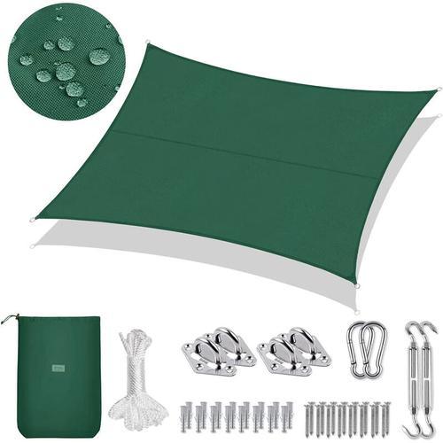 PES Sonnensegel 300 x 400cm Sonnenschutzsegel, Grün mit Montageset