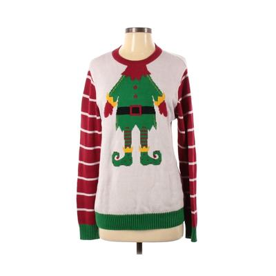 Ugly Christmas Sweater Pullover Sweater: Ivory Print Tops - Size Small