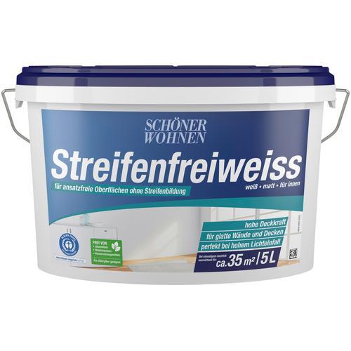 SCHÖNER WOHNEN-Kollektion Wand- und Deckenfarbe Streifenfreiweiss, weiß, matt, für innen, verschiedene Größen weiß Farben Lacke Bauen Renovieren