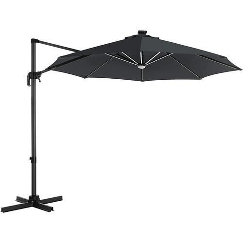 Sonnenschirm mit LED-Beleuchtung, Ampelschirm Ø 300 cm, Gartenschirm, UV-Schutz bis UPF 50+, um