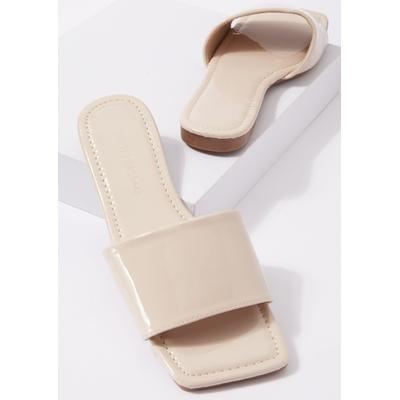Rue21 Womens Beige Faux Patent Leather Square Toe Slip On Sandals - Size 5 1/2