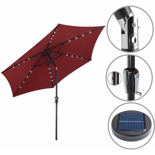 Sonnenschirm ALU 24 LED Kurbel Solar Ø270cm Marktschirm Gartenschirm Schirm rot