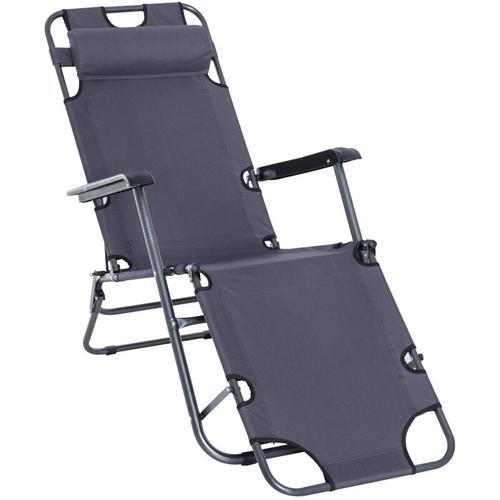 Outsunny® Sonnenliege Strandliege Gartenliege Relaxliege klappbar mit Kissen Strand Metall +