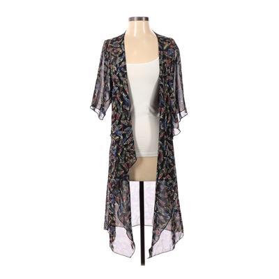 Lularoe Kimono: Black Floral Tops - Size Small