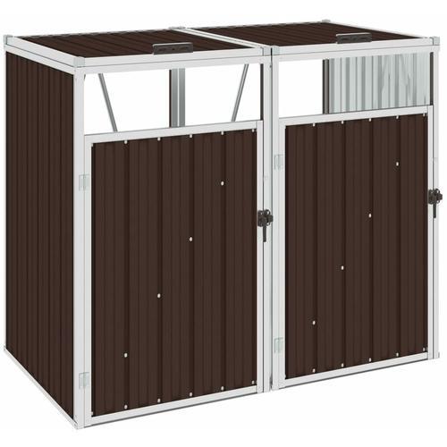 Mülltonnenbox für 2 Mülltonnen Braun 143×81×121 cm Stahl