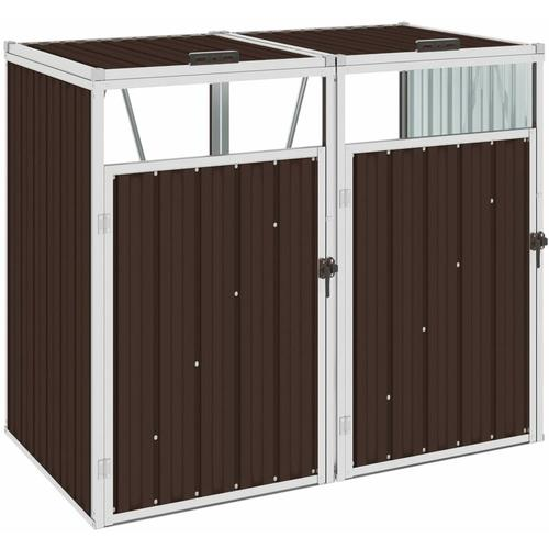Vidaxl - Mülltonnenbox für 2 Mülltonnen Braun 143×81×121 cm Stahl