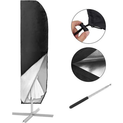 Sonnenschirm Hülle mit Stab, Ampelschirm Schutzhülle 2 bis 4 M Große Sonnenschirm