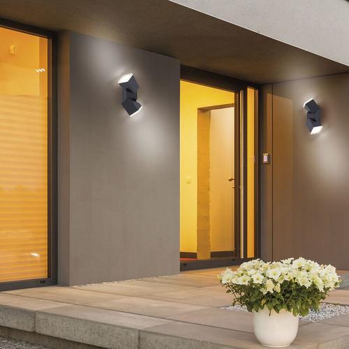Schwenkbare LED Wand- und Deckenleuchte Ryan in Anthrazit 2-flammig