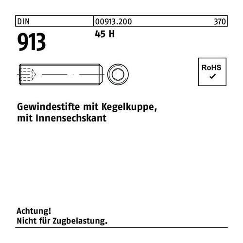 DIVERSE Gewindestift Gewindestift DIN 913 Kegelkuppe/Innen-6-kant M 8 x 10 45 H
