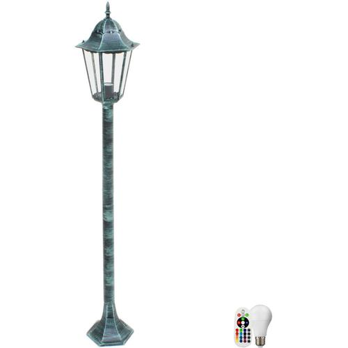 Rustikale Steh Leuchte Stand Lampe Fernbedienung Außen Strahler Laterne im Set inklusive RGB LED