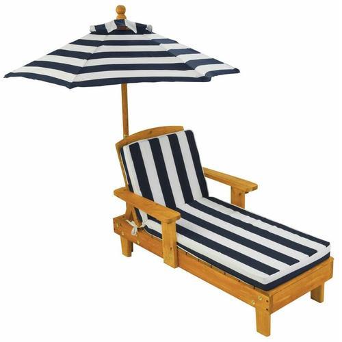 Kinderliegestuhl mit Sonnenschirm Marineblau Holz 00105 - Kidkraft