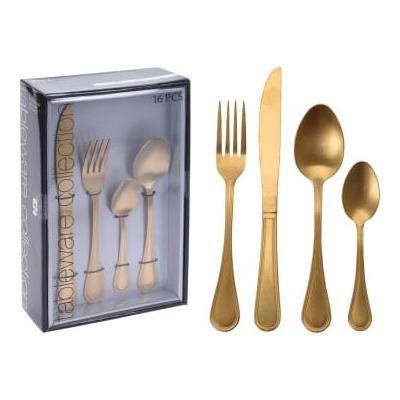 Deco Home & Garden - Set 16 Pieces Gold Cutlery