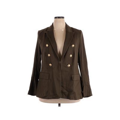 Lane Bryant Blazer Jacket: Green Solid Jackets & Outerwear - Size 18 Plus