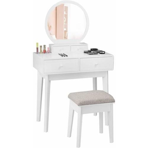 Schminktisch mit Hocker und Spiegel, Frisiertisch Set, Frisierkommode weiss, Kosmetiktisch mit 4