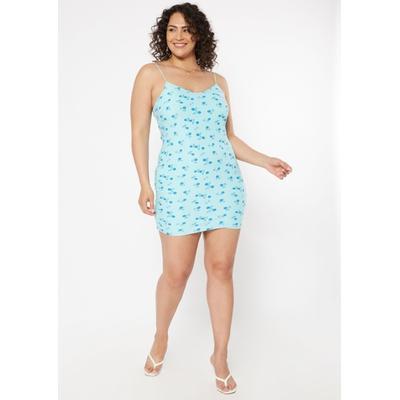 Rue21 Womens Plus Size Blue Floral Print Super Soft Bodycon Dress - Size 2X