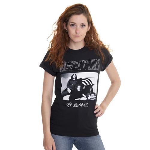 Led Zeppelin - Icon Logo Photo - - T-Shirts