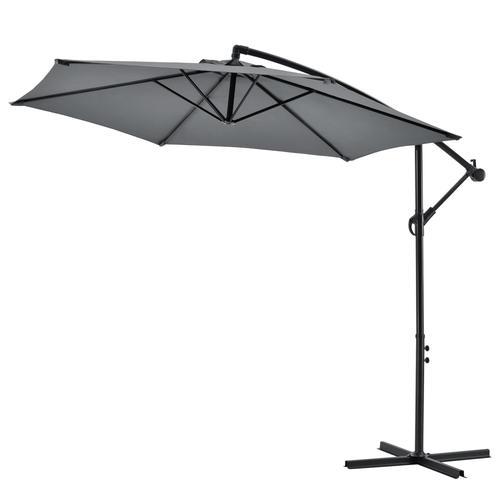 casa.pro Ampelschirm Sonnenschirm mit Schirmständer Sonnenschutz Gartenschirm Terrassenschirm Grau