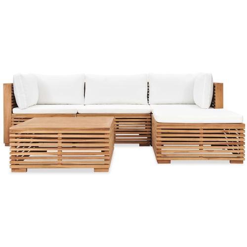 5-tlg. Garten-Lounge-Set mit Auflagen Massivholz Teak