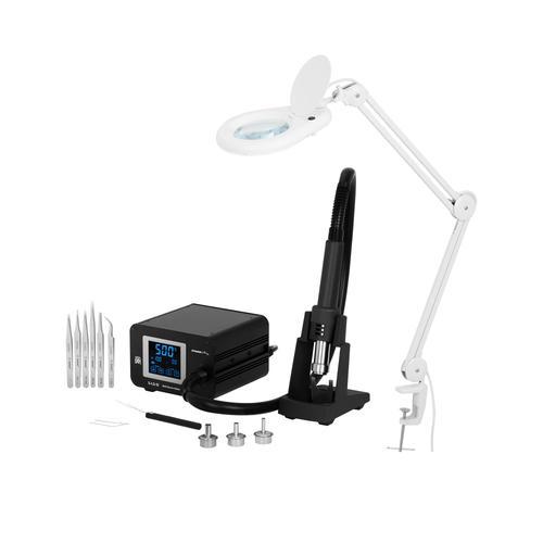 Stamos Soldering Set Lötstation mit Heißluftkolben und Lupenleuchte - 1.300 W - LCD-Touch S-LS-51-SET