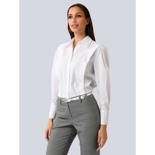 Alba Moda, Bluse mit Flügelleisten, weiß