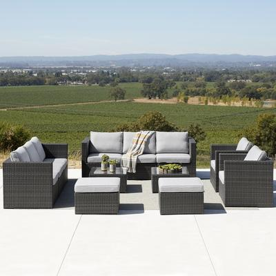 Must Have Corvus Trey 12 Piece, Corvus 8 Piece Grey Wicker Patio Furniture Set With Blue Cushions