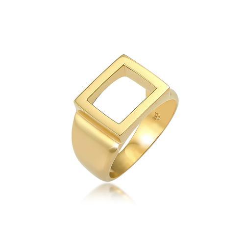 Ring Siegelring Herren Rechteckig 925 Silber Kuzzoi Gold