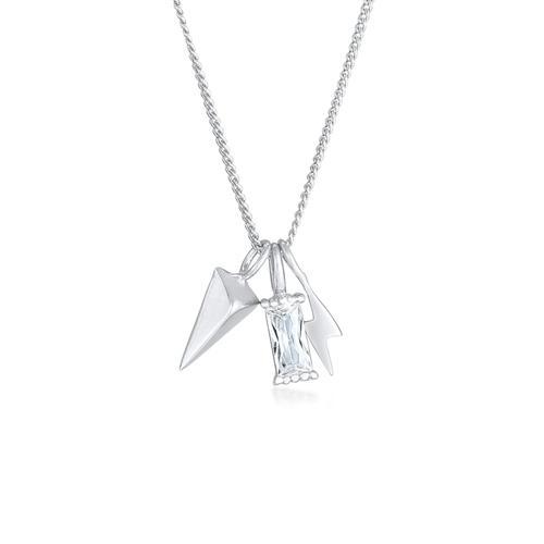 Halskette Zirkonia Rechteck Blitz Pfeil 925 Sterling Silber Elli Silber