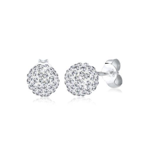 Ohrringe Glamour Kristalle 925 Silber Elli Weiß