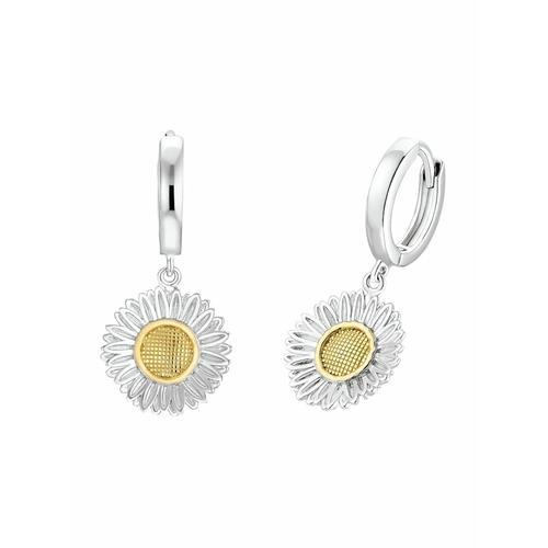 Creolen für Damen, Sterling Silber 925 | Gänseblume amor Bicolor