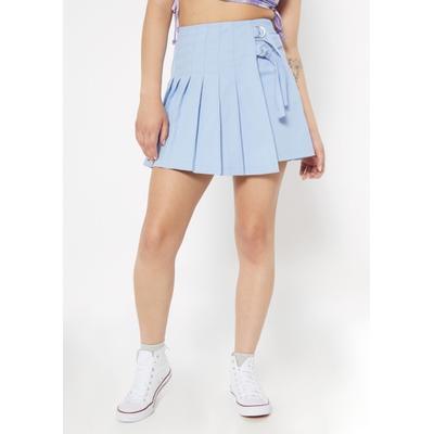 Rue21 Womens Light Blue Side Buckle Pleated Skirt - Size Xl