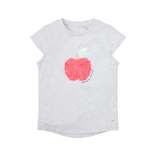 TOM TAILOR Mädchen T-Shirt mit Früchte-Logo, grau, Gr.92/98