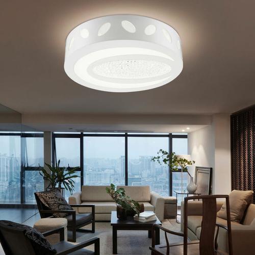 LED Deckenleuchte Deckenstrahler klar weiß Kristall-Dekoration 40 cm Wohnzimmer