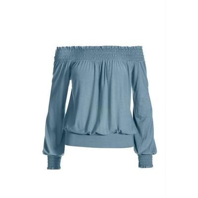 Boston Proper - Off-The-Shoulder Smocked Knit Top - Chambray - X Small