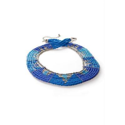 Boston Proper - Layered Beaded Blue Necklace - Blue - One Size