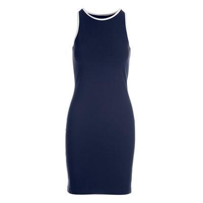 Boston Proper - High-Neck Contrast Sport Dress - Navy/white - X Large
