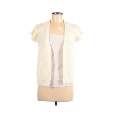 LeRoy Knitwear Cardigan Sweater: Ivory Solid Sweaters & Sweatshirts - Size Medium