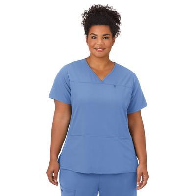 Plus Size Women's Jockey Scrubs Women's True Fit Crossover V-Neck Top by Jockey Encompass Scrubs in Blue (Size L(14-16))