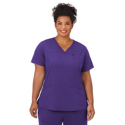 Plus Size Women's Jockey Scrubs Women's True Fit Crossover V-Neck Top by Jockey Encompass Scrubs in Purple (Size L(14-16))