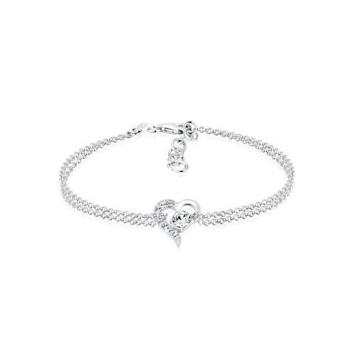 Armband Herz Liebe Kristalle 925 Silber Elli Gold