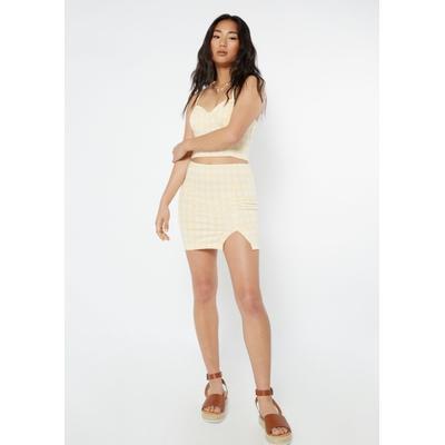 Rue21 Womens Yellow Gingham Plaid Print Thigh Slit Mini Skirt - Size S