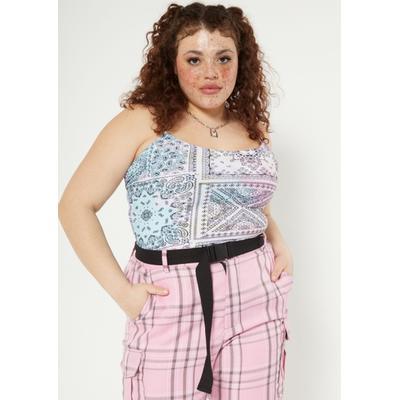 Rue21 Womens Plus Size Pastel Tie Dye Bandana Print X Back Cami Bodysuit - Size 2X