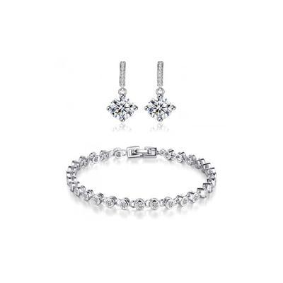 Bracelet avec ou sans boucles d oreilles pendantes ornés de cristaux Swarovski® : Parure bracelet et boucles d oreilles
