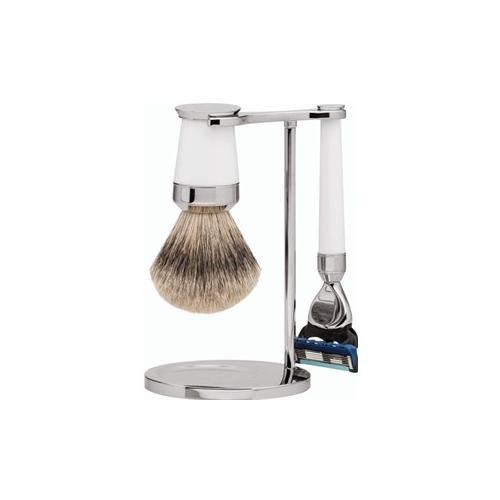 ERBE Shaving Shop Rasiersets Geschenkset Premium Design PARIS Gillette Fusion Rasierer Edelharz weiß 1 Stk. + Rasierpinsel Silberspitz Edelharz weiß 1 Stk. + Rasierer- und Rasierpinselhalter 1 Stk. 1 Stk.