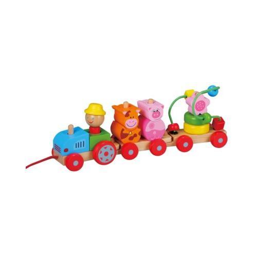 Holzspielzeug Nachziehspielzeug Traktor bunt