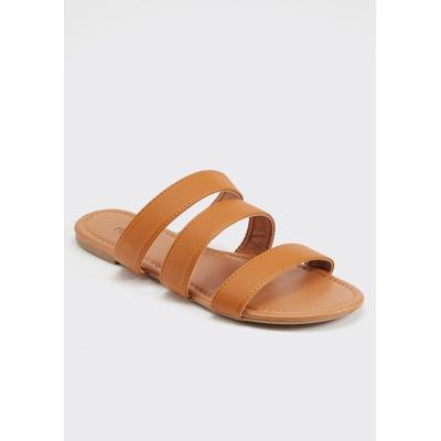 Rue21 Womens Cognac Triple Band Slide Sandals - Size 7