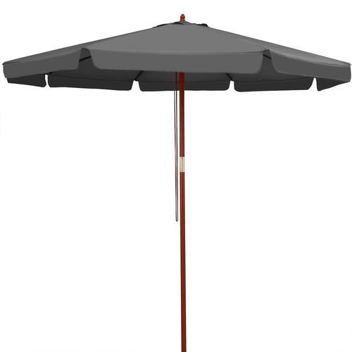 Sonnenschirm Holz 330 cm UV Schutz 50+ wasserabweisend anthrazit