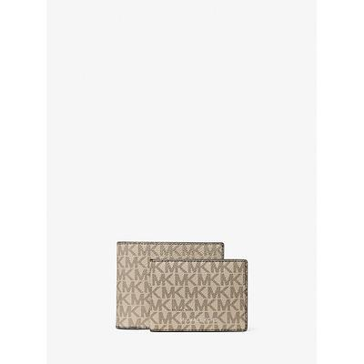 Michael Kors Harrison Logo Billfold Wallet With Passcase Natural One Size