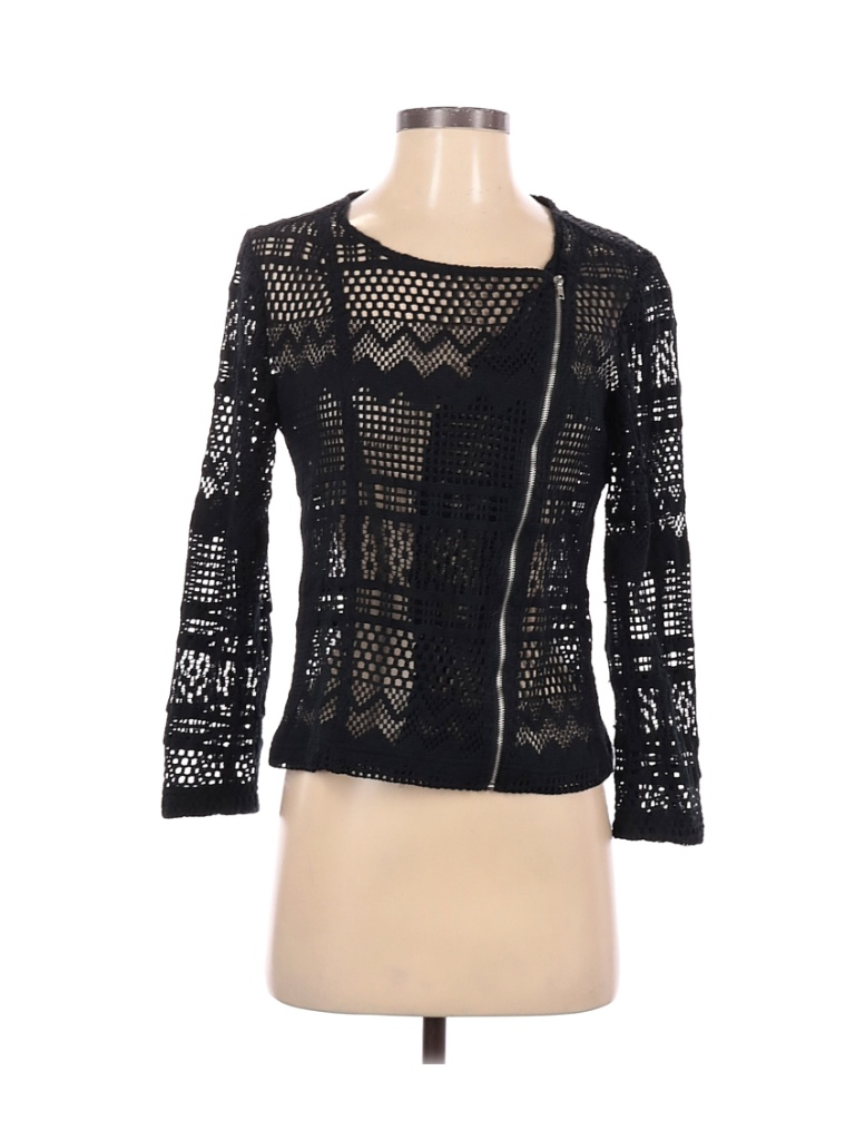 Just Fab Jacket: Black Solid Jackets & Outerwear - Size Small