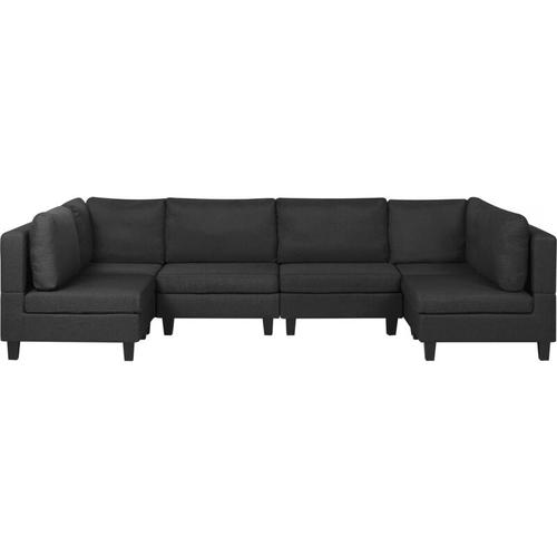 Sofa Schwarz Polsterbezug U-Förmig 6-Sitzer Modulsofa Wohnlandschaft Modern Wohnzimmer
